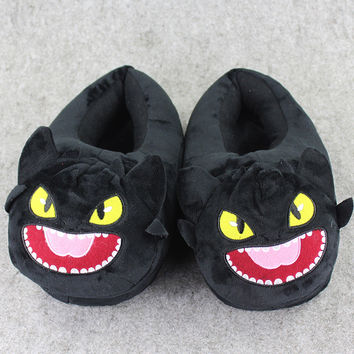 30cm Night Fury Plush Slippers How To Train Your Dragon Night Fury Soft Stuffed Plush Slipper Winter Indoor Slippers