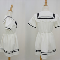 J-Fashion Super Cute Sailor High Waist School Unifrom Maid Dress With Bow Free Shipping SP140890 from SpreePicky