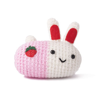White-Pink Bunnies Handmade Amigurumi Stuffed Toy Knit Crochet Doll VAC