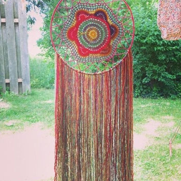 Hand Crocheted Large Bohemian Dreamcatcher,