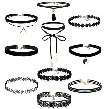 Bling-world 10 Pieces Choker Necklace Set Stretch Velvet Classic Gothic Tattoo Lace Choker je7