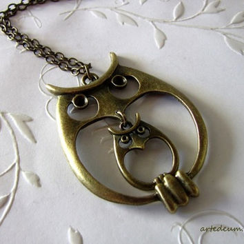 Owl Necklace Mommy Baby owl Vintage style Mommy to be present Owls family
