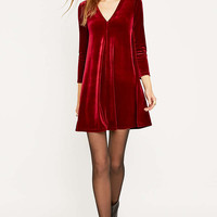 Urban Renewal Vintage Remnants Wine Velvet Swing Dress - Urban Outfitters