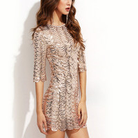 2017 Sexy Short Sleeve Bodycon Sequined Party Dress Tight Package Hips O Neck Club Dress Fashion Evening Night Mini Dress