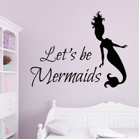 Mermaid Wall Decals Quote Lets Be Mermaids Water Nymph Bathroom Spa Beauty Salon Home Vinyl Decal Sticker Baby Girl Room Bedding Decor kk828