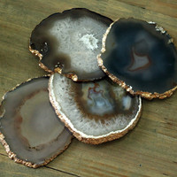 Agate Coasters - Set of 4 - GOLD or SILVER Finish - Coaster Set - Perfect Housewarming Gift