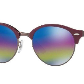 Ray Ban Clubround Sunglasses RB4246 1222C2 51MM Bordeaux/Blue Rainbow Flash