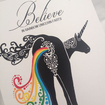 Believe in Unicorn Rainbow Farts Decal