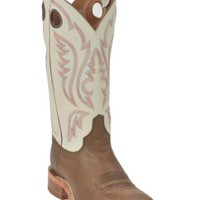 Justin Bent Rail Men's Chocolate Brown w/ Ivory White Top Square Toe Western Boot