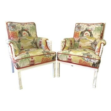Pre-owned Chinoiserie Print Faux-Bamboo Chairs - A Pair