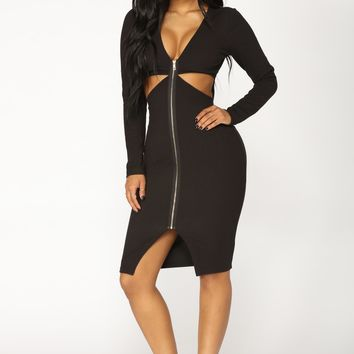 Leanna Ribbed Dress - Black