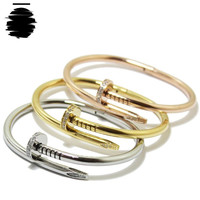 Cartier Love Inspired Replica Gold, Silver, Rose Gold, Bangle Nail Bracelet (with Rhinestone)