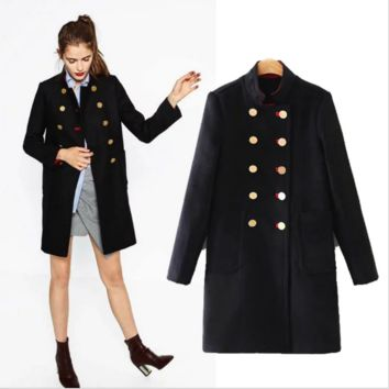 Long military uniform style of woolen cloth coat