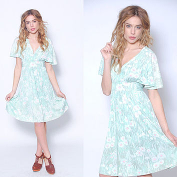Vintage 70s GREEN Floral Boho Dress BUTTERFLY Sleeve Hippie Dress Vintage Summer Dress