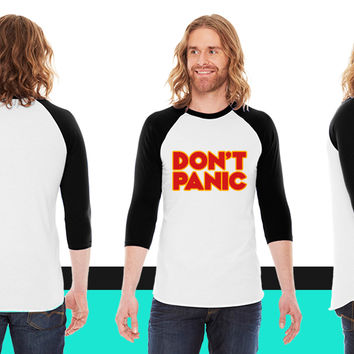 Don't panic (Hitchhiker's Guide to the Galaxy) American Apparel Unisex 3/4 Sleeve T-Shirt