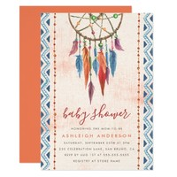 Boho Tribal Feathers Dream Catcher Boy Baby Shower Card