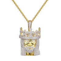 "Jesus Face Crown Pendant Iced Out Pendant 24"" Necklace"