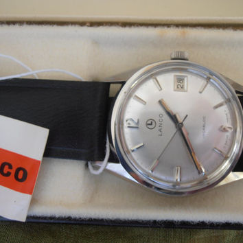 Vintage rare Lanco stainless incabloc NIB with tags men's wristwatch