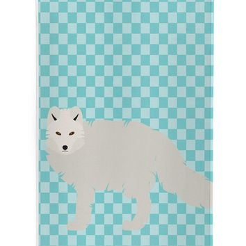 White Arctic Fox Blue Check Michelob Ultra Hugger for slim cans