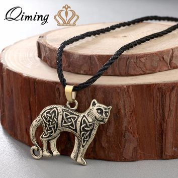 QIMING 2017 Silver Lovely Kitty Cat Necklace Valknut Vikings Amulet Pendant Celtic Animal Necklace Original Men Jewelry