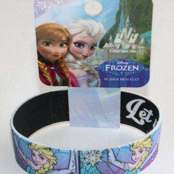"Licensed cool Disney FROZEN Movie QUEEN ELSA ""LET IT GO"" REVERSIBLE Rubber Bracelet Wristband"