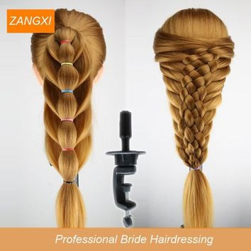 70cm Blonde Long Hair Training Head Professional Bride Hairdressing Mannequin Dolls Good Synthetic Thick Hair Mannequin Head