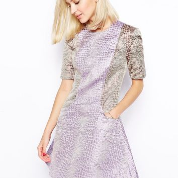 House Of Holland Fleur Dress in Mixed Croc Jacquard