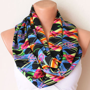 Zigzag Rainbow Loop Infinity Circle Scarf Soft and by fairstore
