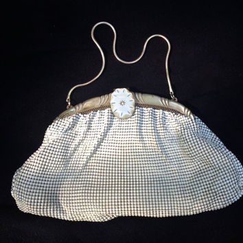 Whiting and Davis White Mesh Purse with Lucite Clasp