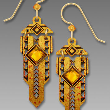 Adajio Earrings - Hinged Art Deco in Topaz with Faceted Glass Cabochon