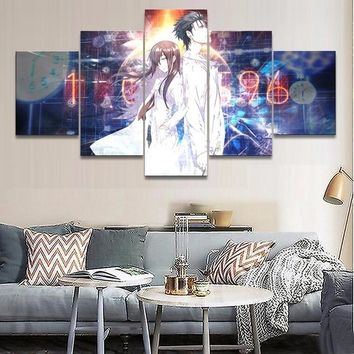 Canvas HD Printed Modular Pictures Home Decor Living Room 5 Pieces Anime Steins Gate Poster Paintings Wall Art Framework