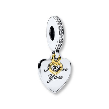 PANDORA Dangle Charm Love You Forever Sterling Silver/14K Gold