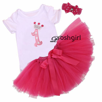 3Pcs Set Baby Girl Crown Tutu Dress Infant 1st Birthday Party Outfit Romper Bubble Skirt Headband Bebe Newborns Tulle Vestidos