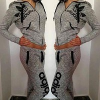 Adidas Fashion Drawstring Sport Gym Pants Hoodie Set Two-Piece Sportswear