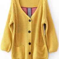 V Neck Yellow Sweater with Plaid Back$40.00