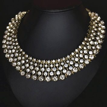 Gold Rhinestone Collar Necklace