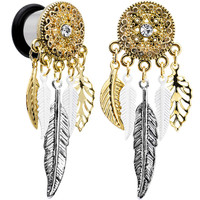 00 Gauge Clear Gem Ornate Gold Disc Leaf Feather Dangle Plug Set