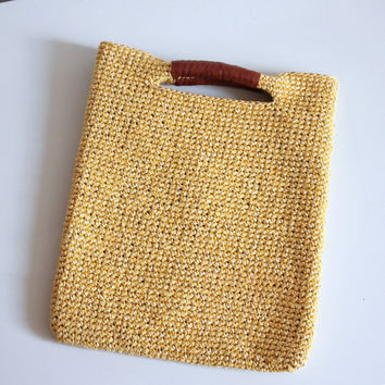 Crochet raffia tote medium, Leather trimmed raffia bag,  Summer handbag, Top handle bag, Payettes