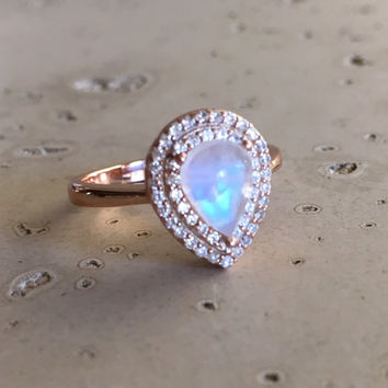 Rose Gold Moonstone Ring- Moonstone Ring- Solitaire Ring- Halo Ring- Sterling Silver Ring- June Birthstone Ring- Promise Ring for Her