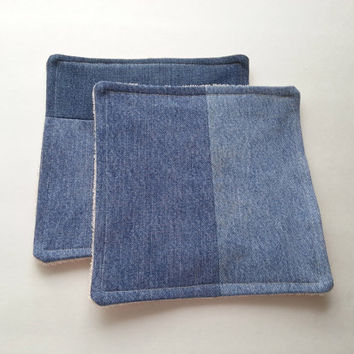 Set of 2 Hot Pads / Pot Holders / Dish Rags / Camping Gear / Rustic Decor / Recycled Denim Patchwork / ORGANIC TerryCloth / Fabric Hot Pads