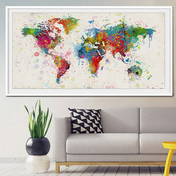 Fineartcenter on etsy on wanelo extra large watercolor world map world map art travel world map wall art gumiabroncs Image collections