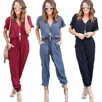 Women V-neck Long Jumpsuit Tunic Short Sleeve Rompers ~In Stock