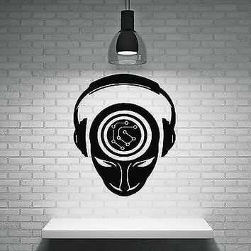 Wall Sticker Music People Headphones Brain Activity Record DJ Vinyl Decal Unique Gift (n341)