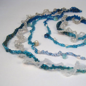 Beaded Freeform Necklace Blue Hawaiian Waters Ogalala Lace