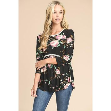 Floral Baby Doll Top - Black