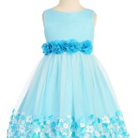 Girls Aqua Blue Mesh Overlay Dress with Taffeta & Chiffon Flowers 2T-8
