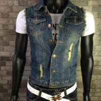 Men's Comfortable Stylish Cool Outwear Denim Vest Jacket Blue