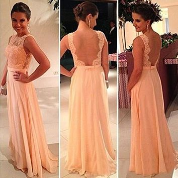 Backless Lace Chiffon Patchwork Evening Gown Dress