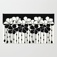 Hibiscus Bead Curtain: Positive Negative Rug by Eileen Paulino