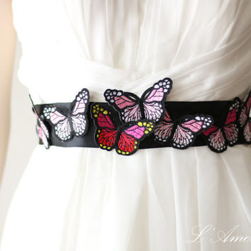 Fun and Unique Handmade Black Embroidered Butterfly Wedding Belt Bridal Sash